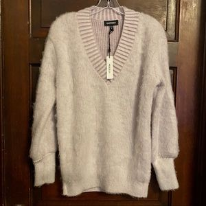Express Women's Lavender Fuzzy V Neck Sweater NWT